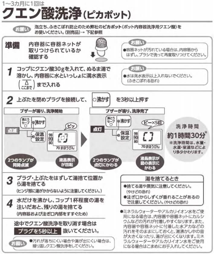 クエン酸洗浄_象印CV-GT22・CV-GT30